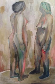 Doppelakt, ヌード二人, 2006, Öl auf Leinwand, Ernst-Ulrich Jacobi