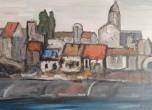 Stadt am Fluss, 川である街, 2012, Öl auf Leinwand, Ernst-Ulrich Jacobi