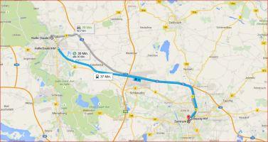Karte Halle → Leipzig, Entfernung Luftlinie: 32,28 km