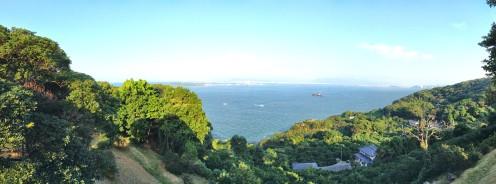 Blick auf die Hakata-Bucht vom Island-Park aus.